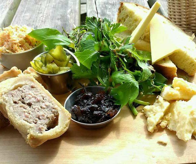 food on a wood block