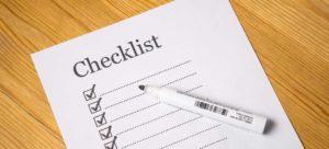 a checklist with pen
