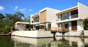 modern house by the water