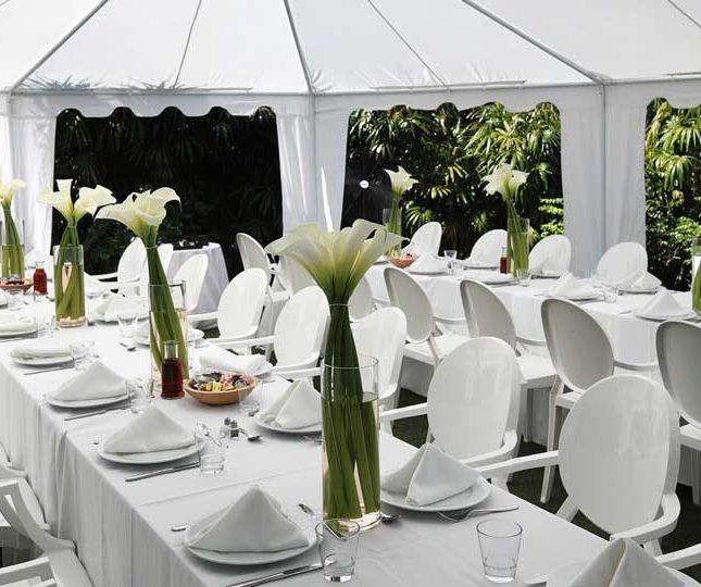 white outdoor dinner setup