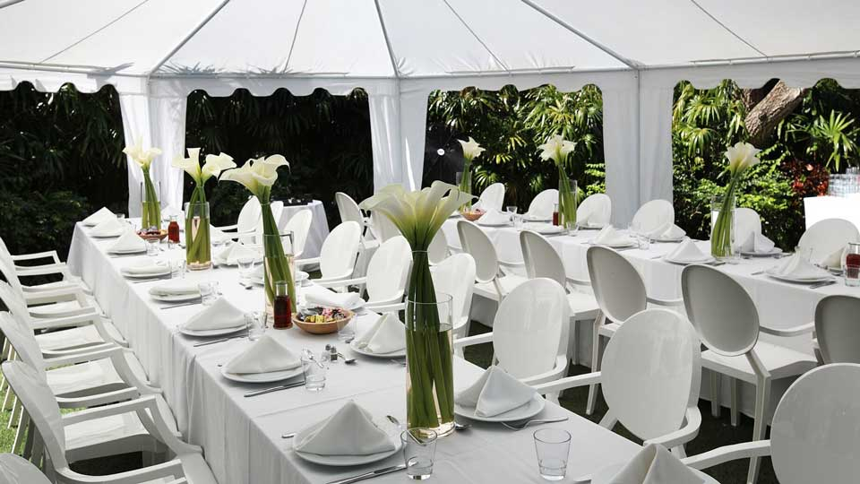 white outdoor dinner setup