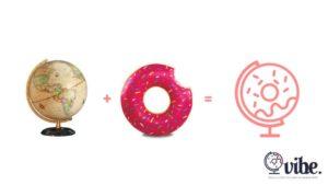 Globe, donut and the VIBE agency logo