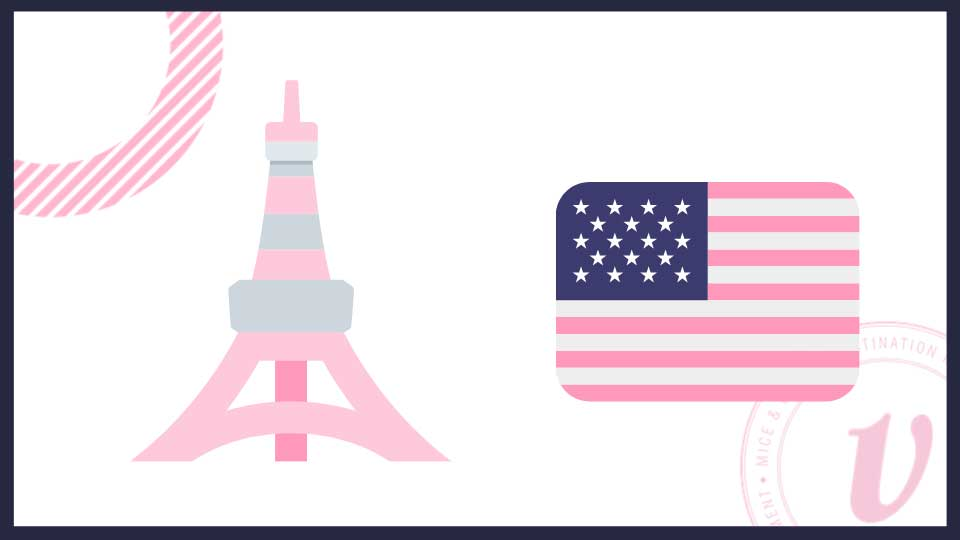 Eiffel Tower and the American flag
