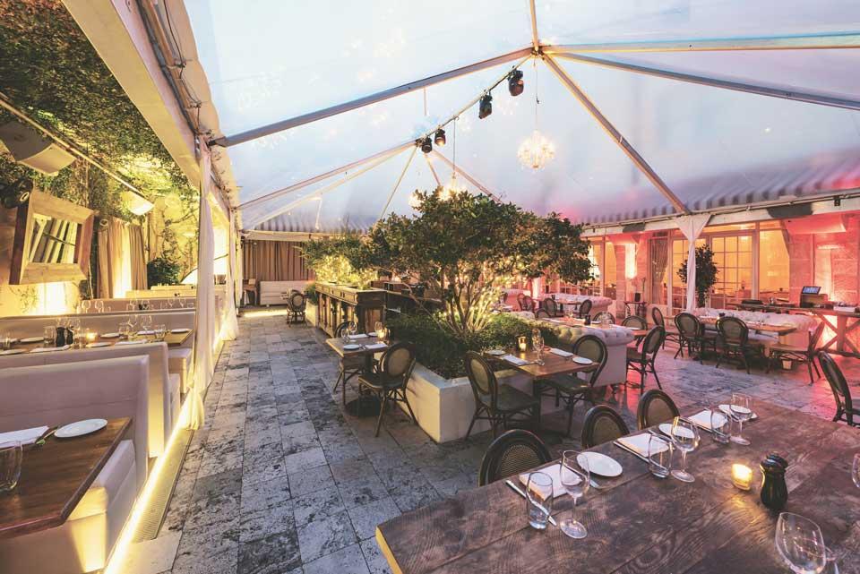 Villa Azur outdoor restaurant space
