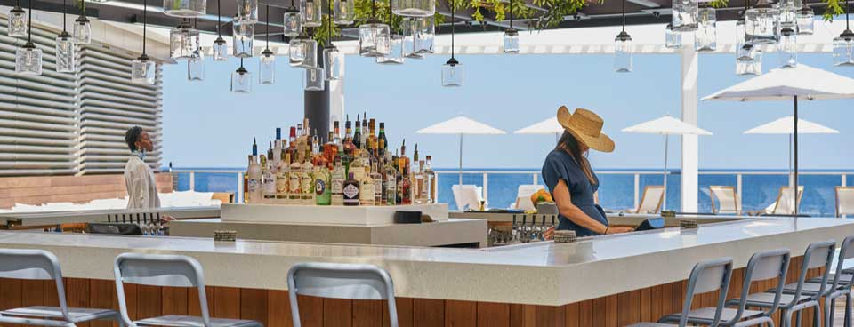 Asbury Ocean Club Surfside Resort outdoor terrace with ocean view