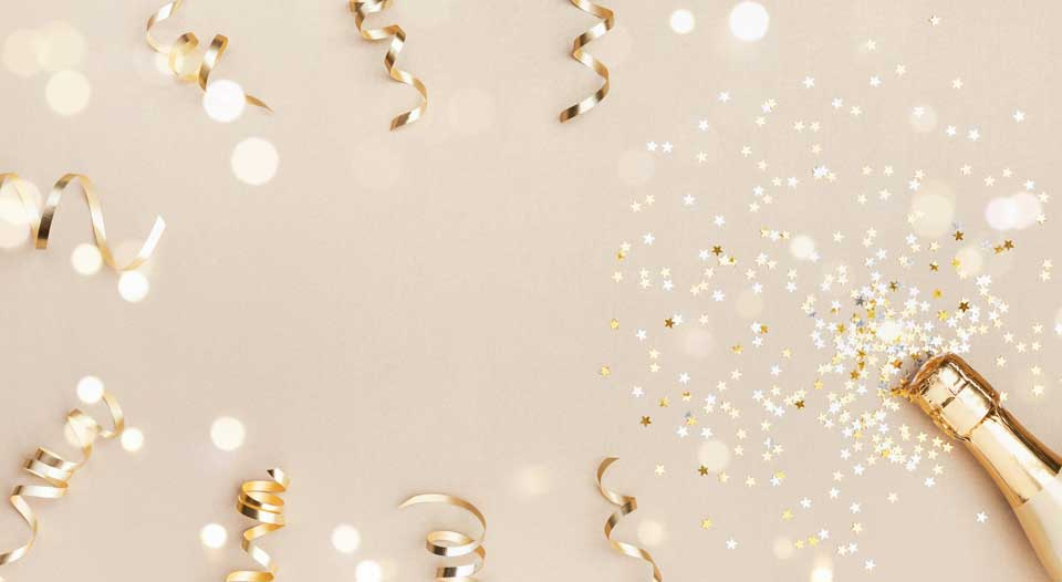 Festive elements on gold background