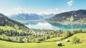 Aerial view of Switzerland with mountains, lake and a village