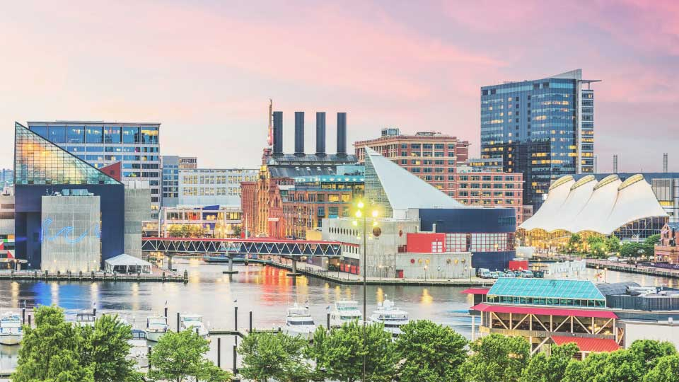 Overall view of Baltimore with water