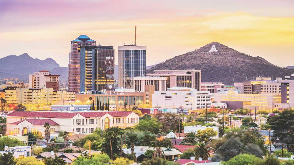 Overall view of Tucson with mountain background