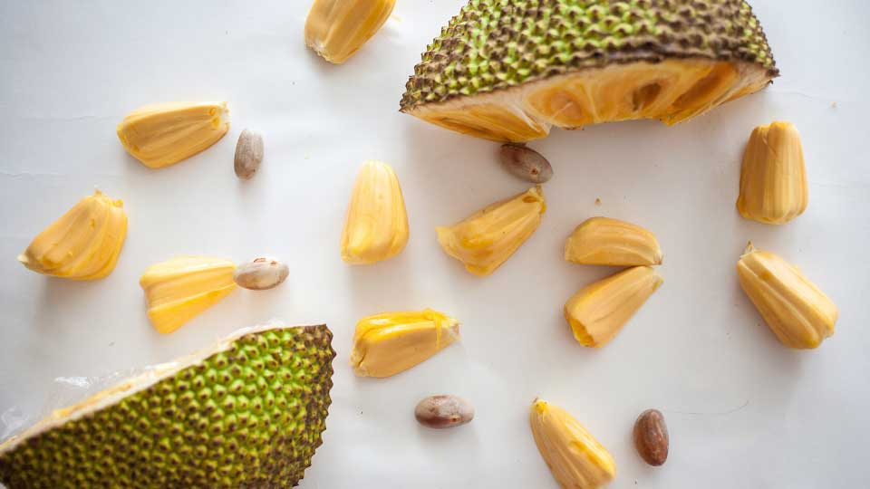 Ripe Jackfruit pieces with jackfruit pods isolated on white top view