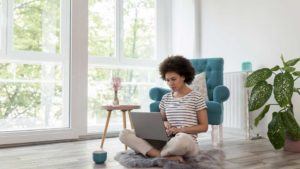 Female freelancer working from home