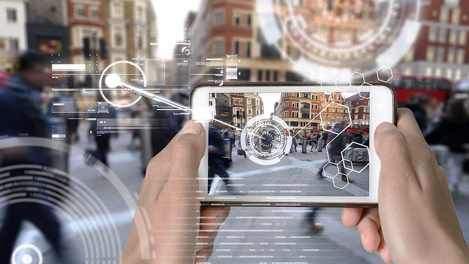 Augmented Reality device using smart technology, mixing virtual and augmentation reality through the application of artificial intelligence and computer AI tech assistance for urban