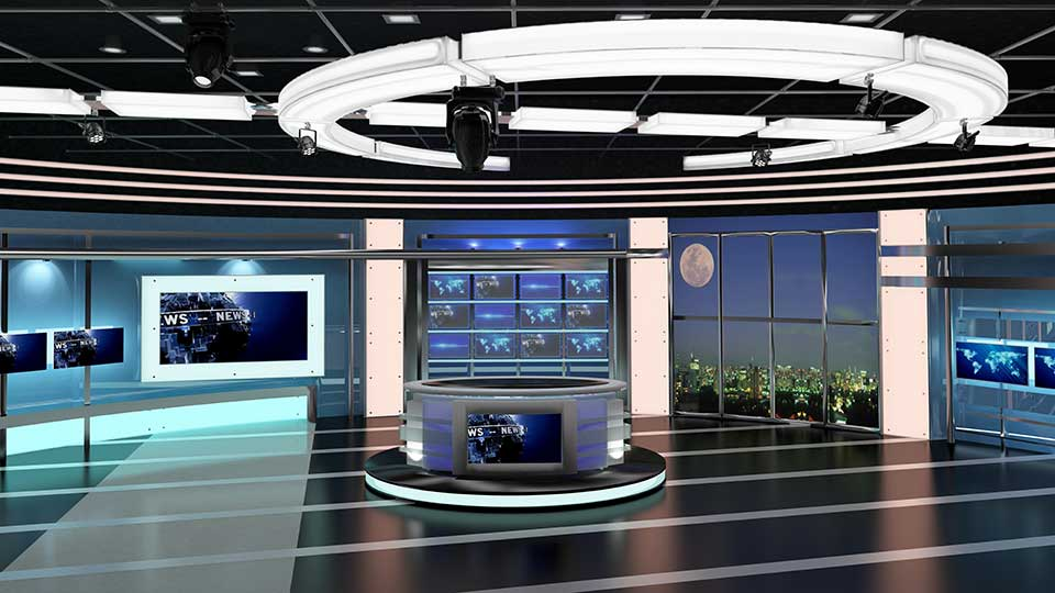 Virtual TV Studio News Set
