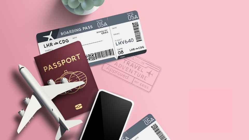 passport on pink background