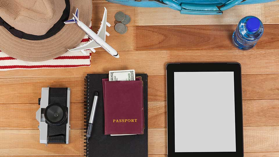 Vacation and tourism conceptual image with travel accessories