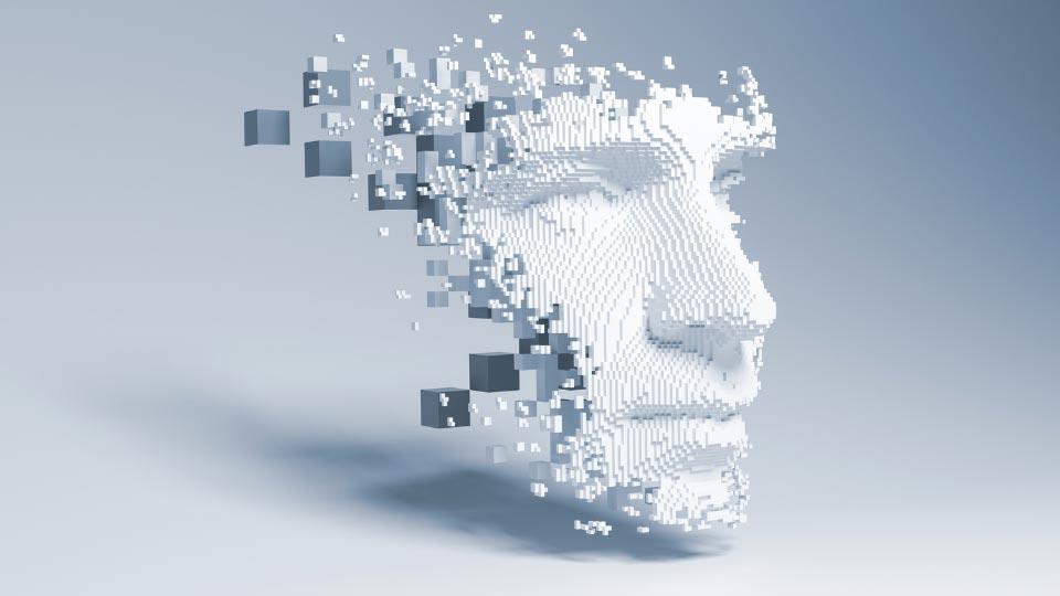 AI digital white face