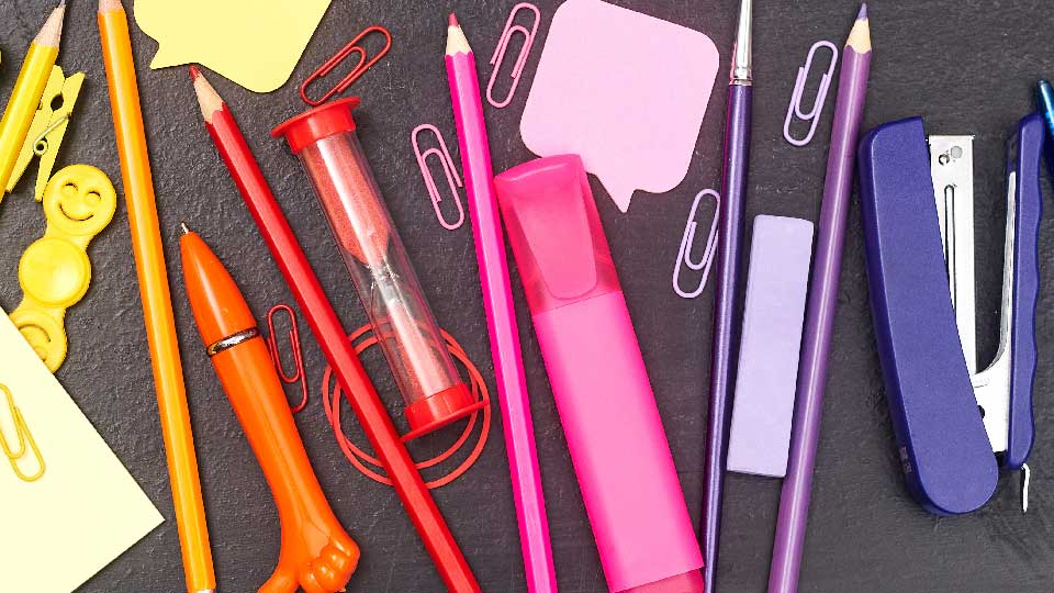 coloful office supplies