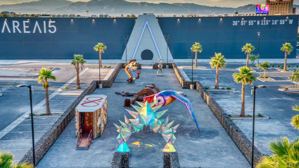 Sculpture garden welcomes guests to the bunker-like AREA15
